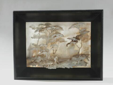 Haut-relief en albâtre dans un cadre noir : un paysage