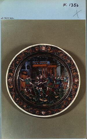 """Assiette : Joseph est conduit en prison, d'un ensemble de six, """"Histoire de Joseph"""" (N 1355 à N 1360)"""