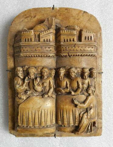 Moulage en plâtre d'un fragment d'Embriachi, représentant la Cène