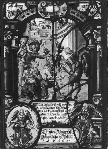 Panneau rectangulaire aux armes de Christen Zollinger : distribution de boisson aux indigents