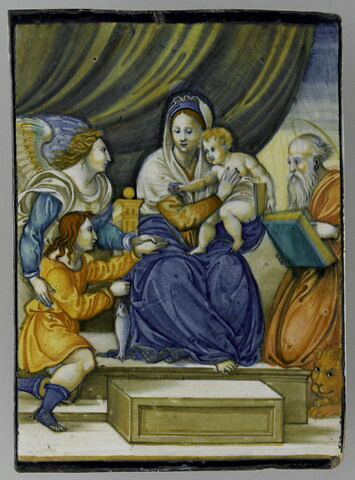 Plaque rectangulaire : La Vierge au poisson entre Tobie et saint Jérôme