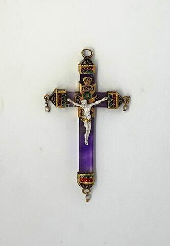 Croix en améthyste, or émaillé et perles