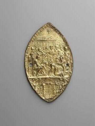 Empreinte de sceau : l'Adoration des mages. Empreinte du sceau de Guillaume Raymond de Vich