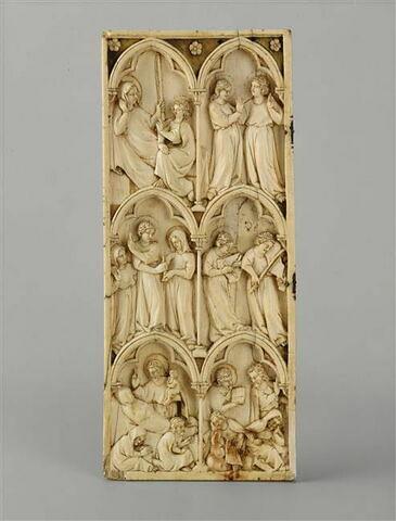 Feuillet gauche d'un diptyque : scènes de la légende de la mort de la Vierge.