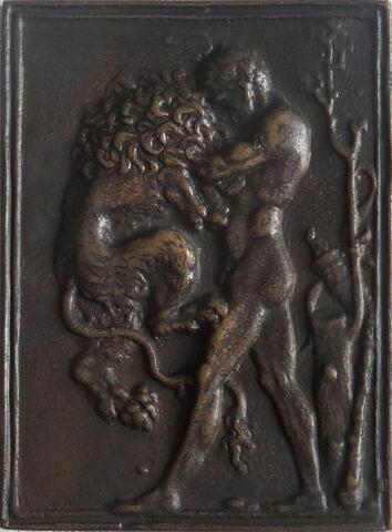 plaquette : Hercule et le lion de Nemée