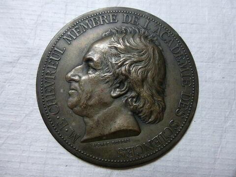 Chevreul. Médaille. Face et revers. Bronze argenté
