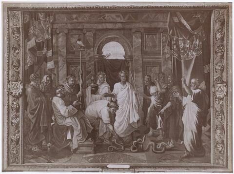 Moïse et les magiciens devant Pharaon, de la tenture de l'Histoire de Moise