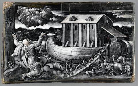 Plaque : L'Entrée dans l'arche de Noé