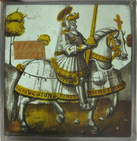 Vitrail : Cavalier chevauchant vers la droite, Constantin (?)
