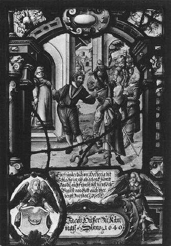 Panneau rectangulaire aux armes de Jakob Hüsser : l'Hospitalité