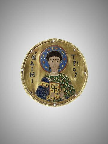 Médaillon en émail cloisonné sur l'or : saint Démétrios