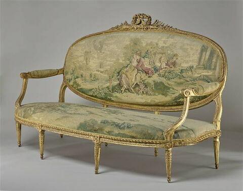 Canapé couvert en tapisserie de Beauvais : la pipée aux oiseaux