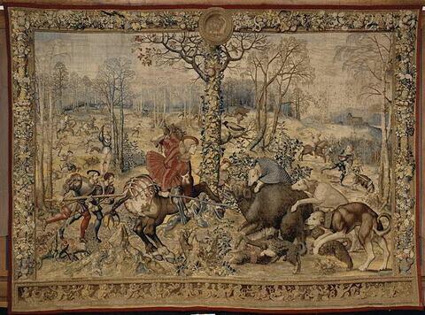 Le mois de décembre ou signe du capricorne ou La chasse au sanglier, de la tenture dite des Chasses de Maximilien