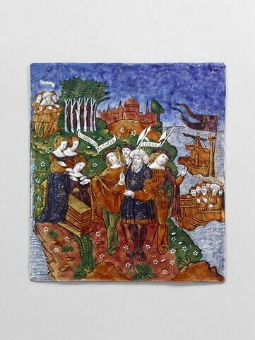 Plaque : Arrivée d'Enée en Epire (où il est accueilli par Andromaque et Helenus), d'un ensemble de onze plaques (OA 7550 à OA 7559 et OA 6596)