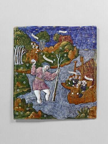 Plaque : Les Troyens fuient la côte de Cyclopes, d'un ensemble de onze plaques (OA 7550 à OA 7559 et OA 6596)