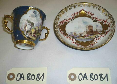 Tasse à deux anses et soucoupe d'un ensemble de six (OA 8079 à 8084). Porcelaine dure Meissen, XVIIIème siècle.