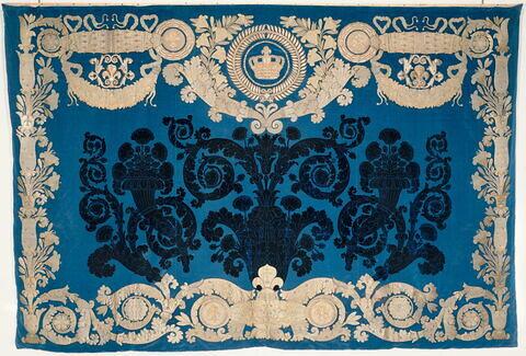Panneau d'une tenture de cinq pièces réalisées pour le meuble de la chambre à coucher de Louis XVIII aux Tuileries.