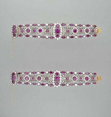 Paire de bracelets en rubis et brillants pour la duchesse d'Angoulême.