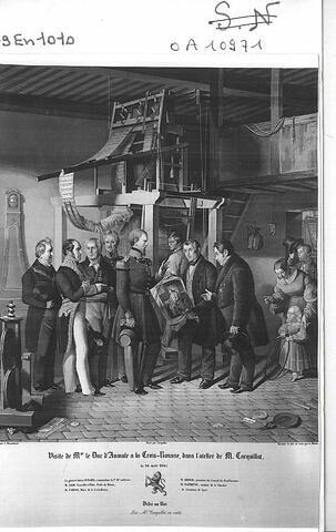 Visite du duc d'Aumale dans l'atelier Carquillat en 1841.