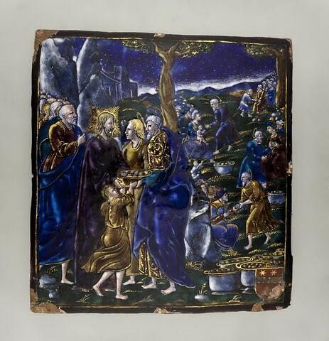 Plaque : La Multiplication des pains, d'un ensemble de quatre plaques : Préfigurations de l'Eucharistie (OA 11017 à OA 11020)