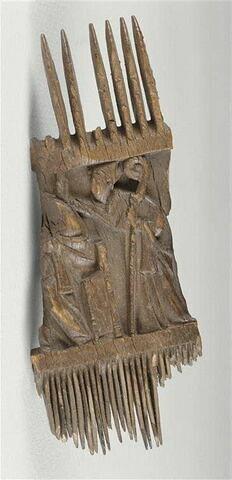 Fragment de peigne liturgique : Scènes religieuses