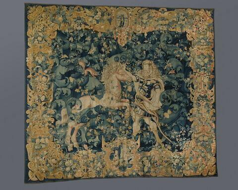Hercule et l'une des cavales de Diomède, de la tenture des Travaux d'Hercule.