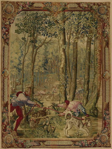 Le mois d'Août, le signe de la Vierge ou le Limier, entrefenêtre de la tenture des Chasses de Maximilien