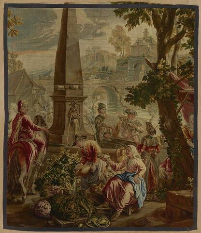 Fragment de tapisserie dite Ténière : Le Marché