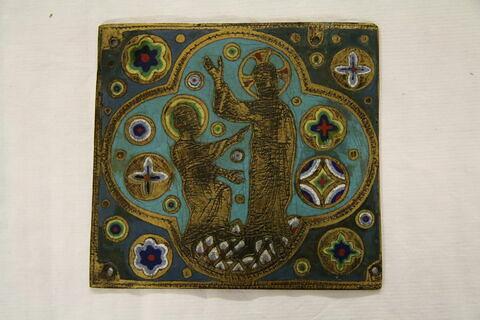 Plaque carrée : Le Christ et saint Thomas