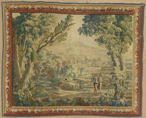 Verdure avec deux personnages vus de dos
