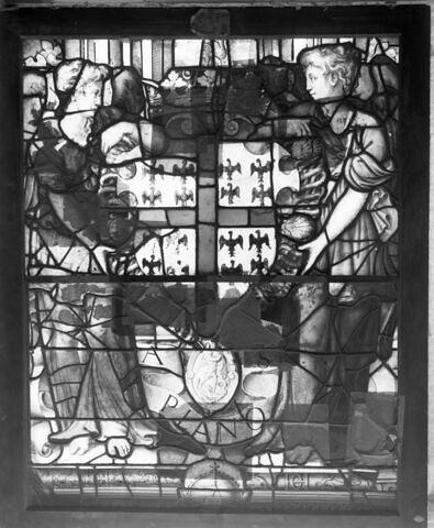 Panneau de vitrail aux armes du connétable Anne de Montmorency.