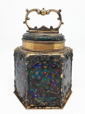 Boîte à thé hexagonale en cuivre doré