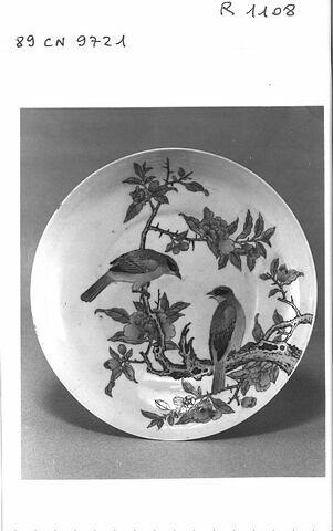 Assiette porcelaine de Chine à revers rubis