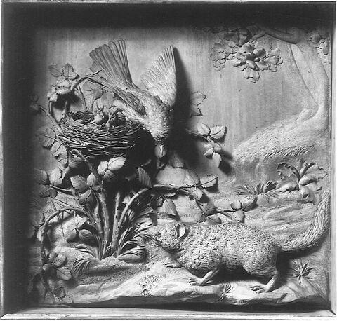 Bas-relief en bois : la Fauvette et le Loir