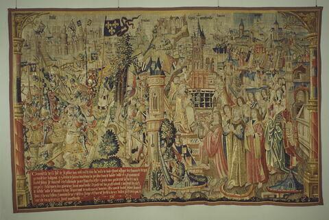 Tapisserie : 13ème pièce de la tenture de saint Anatoile de Salins représentant Louis XI levant le siège de Dole en 1477