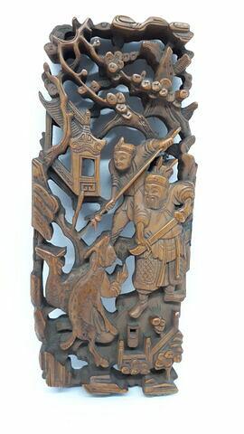 Bas-relief chinois : deux chasseurs dans un paysage