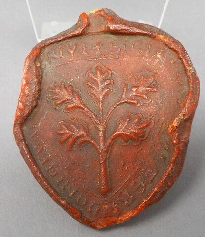 Empreinte de sceau : branche feuillue