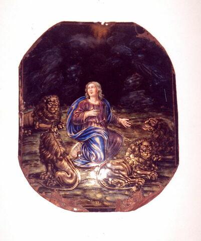 Plaque : Daniel dans la fosse aux lions.