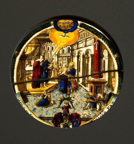 Rondel aux armes de Johann-Jakob Bircher, curé de Menznau (canton de Lucerne) : La Purification de la Vierge
