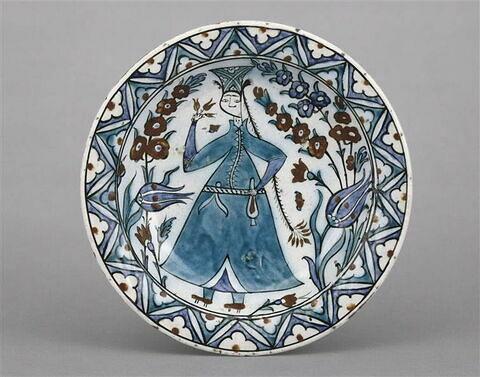 """Plat en céramique d'Iznik anc. dit """"faïence de Rhodes"""""""