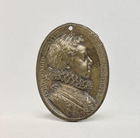 Médaille ovale : Louis XIII enfant et Marie de Médicis en Minerve