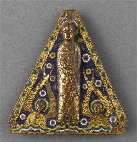 Plaque de toit de tabernacle : apôtre entre deux anges