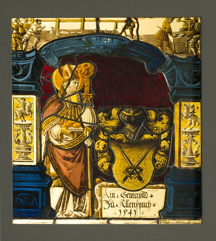 Panneau rectangulaire aux armes de la commune d'Allensbach (Bade-Wurtemberg) ; saint Nicolas de Myre et, dans les angles supérieurs, des lansquenets jouant