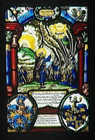 Panneau rectangulaire aux armes de Georg Müller et de Hans Rudolph Wyss : Moïse recevant les tables de la loi.