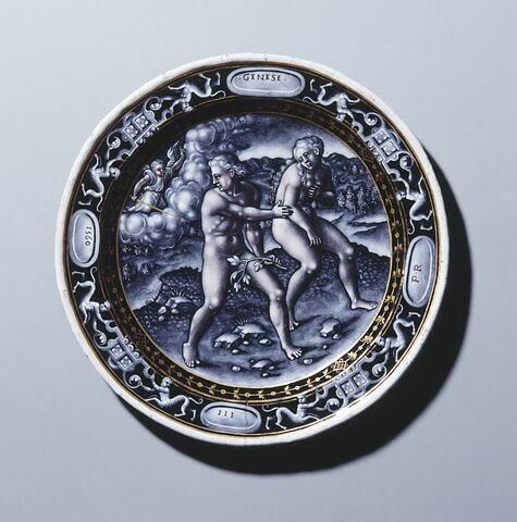 Assiette : L'Expulsion du Paradis, Scène de la Genèse, d'un ensemble de deux assiettes (OA 6190)