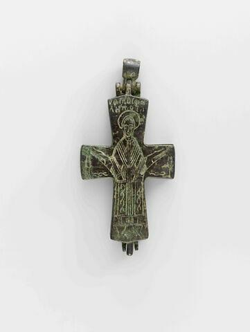 Croix reliquaire (encolpion) en bronze à décor gravé