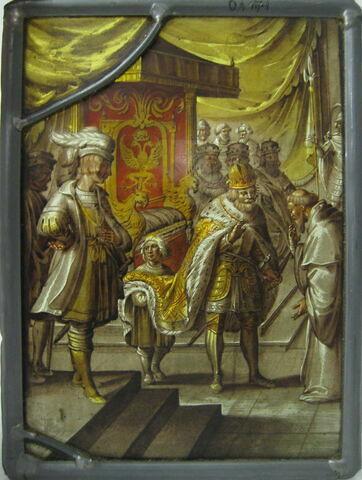 Vitrail rectangulaire : un empereur du Saint Empire recevant un moine