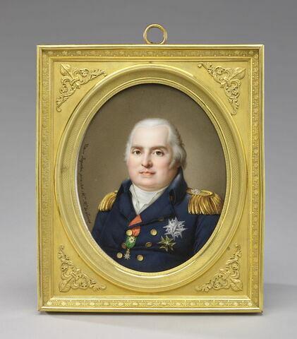 Portrait de Louis XVIII sur plaque de porcelaine et son écrin