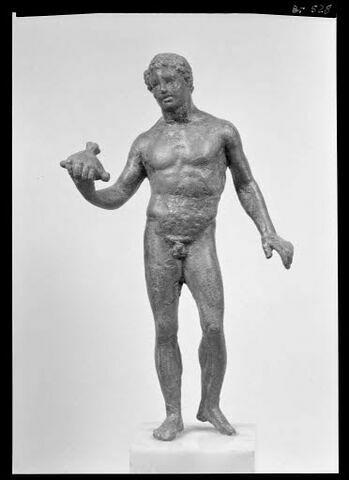 Statuette : Mercure tenant la bourse