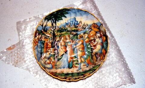 Coupe ronde godronnée : Ulysse découvrant Achille
